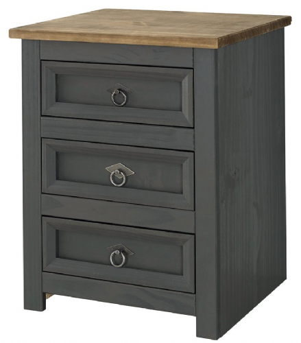 Premium Carbon Corona 3 Drawer Bedside